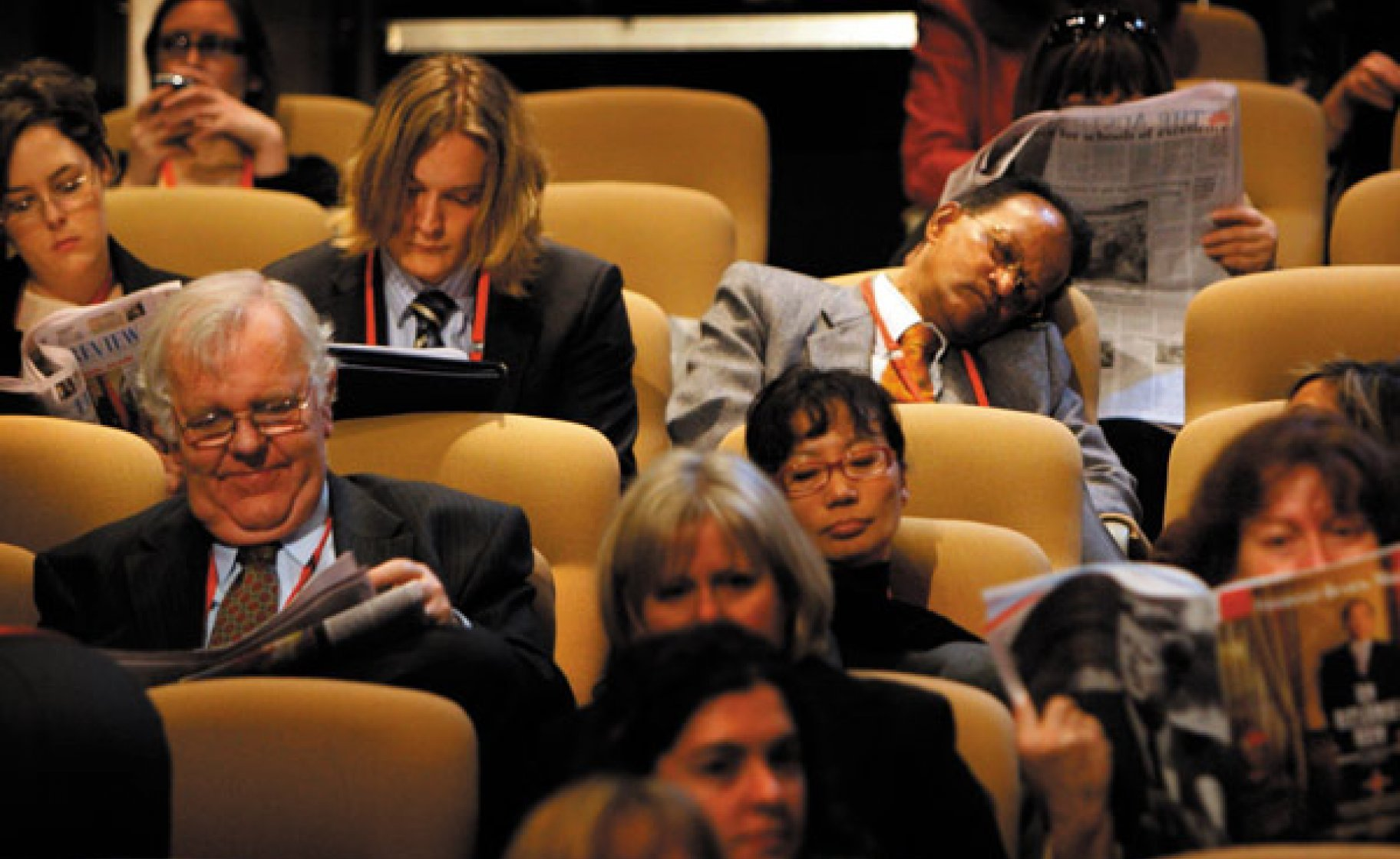 Delegates pause for reflection at the ALP National Conference, 2009. © Andrew Meares/Fairfax Syndication