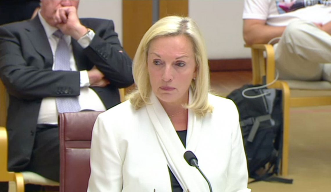 Image of former Australia Post chief executive Christine Holgate speaking before a Senate inquiry today. Image via ABC News
