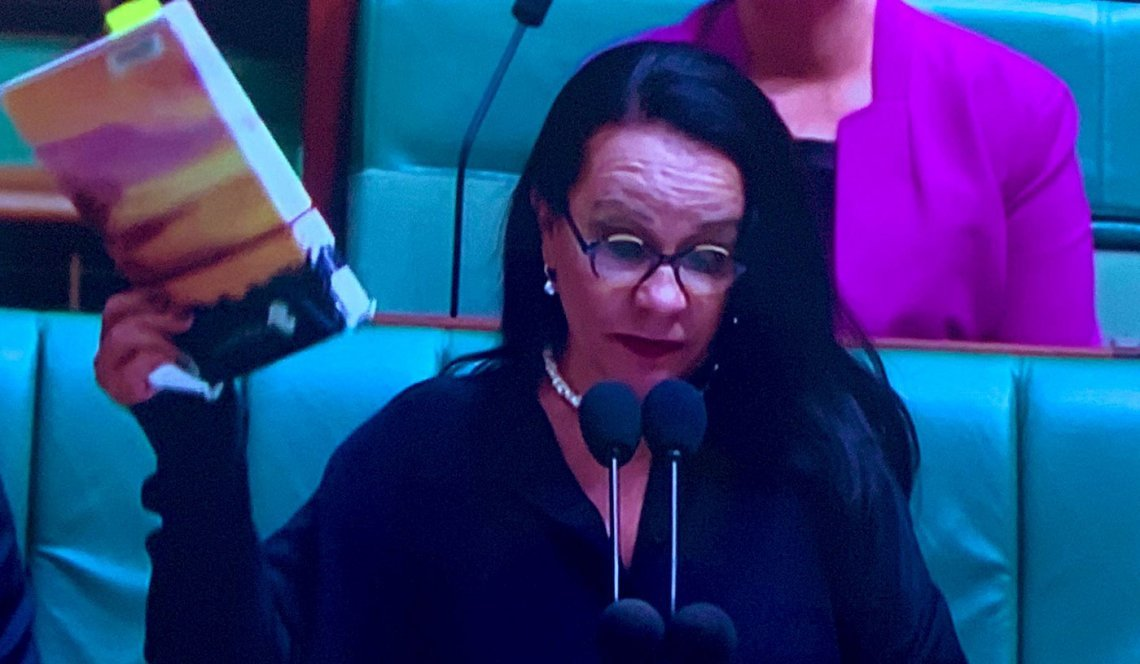 Image of Labor MP Linda Burney referencing the Bringing Them Home report during a speech marking the 13th anniversary of Kevin Rudd's national apology to the Stolen Generations.