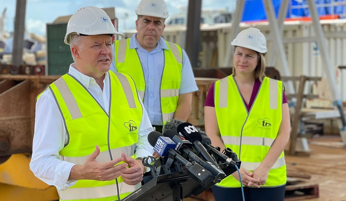 Image of Opposition Leader Anthony Albanese launching Labor's Pandemic Recovery Jobs and Industry Taskforce in Cairns