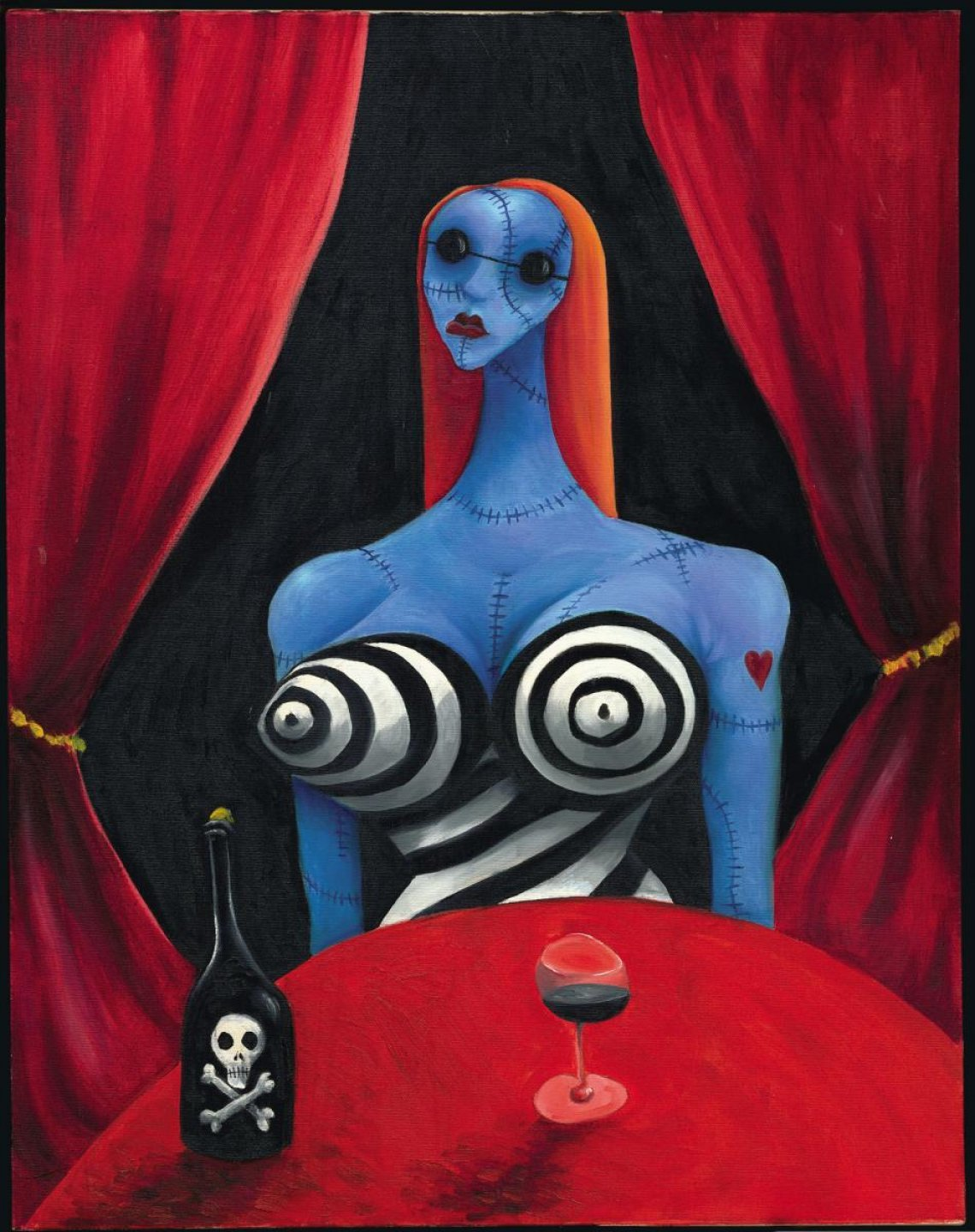 primal scenes the monthly tim burton blue girl wine c 1997 oil on canvas