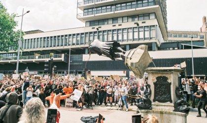 Image of statue of slave owner Edward Colston, Bristol, England, June 2020