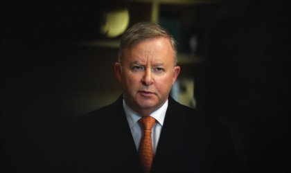 The disappearing man. Image of Anthony Albanese, August 10, 2020