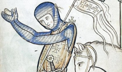 A praying knight from the Westminster Psalter, circa 1250 AD. Courtesy of the British Library