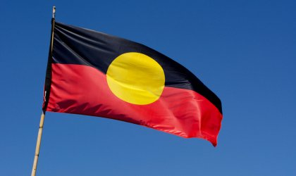 Freeing the flag. Image of the Aboriginal flag