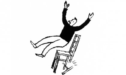 Balancing on a tower of chairs . Cartoon image of a man falling off a chair as it breaks