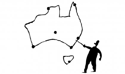 Image of cartoon map of Australia with figure pointing to it