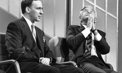 Paul Keating and Bob Hawke in 1989.