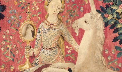 'The Lady and the Unicorn' at the Art Gallery of New South Wales. Sight, c1500, from The Lady and the Unicorn series, wool and silk, 312 cm x 330 cm
