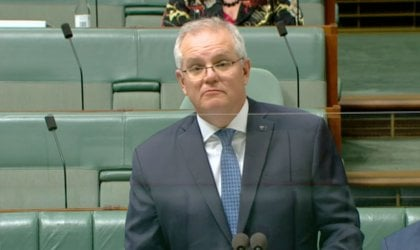 Image of Prime Minister Scott Morrison in Question Time today. Image via ABC News