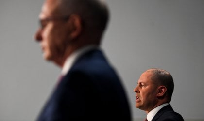 Image of Treasurer Josh Frydenberg and Communications Minister Paul Fletcher at a press conference at Parliament House