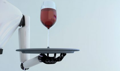 The robot race. Image of a robot waiter
