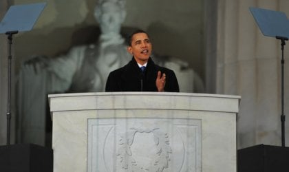 'We Are One': Barack Obama delivering his pre-inaugural speech, Lincoln Memorial, 18 January 2009. Image: USAF