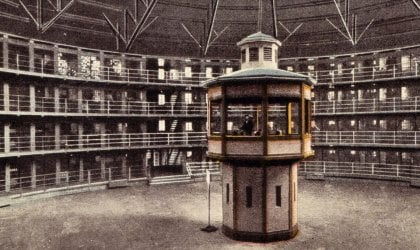 A postcard showing the interior of Stateville Correctional Centre, Illinois, modelled on Bentham's Panopticon. Courtesy of Alex Wellerstein