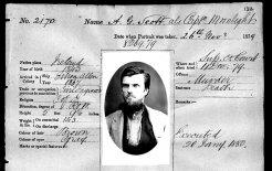 A queer bushranger. Darlinghurst Gaol record of AG Scott, alias Captain Moonlite, November 1879