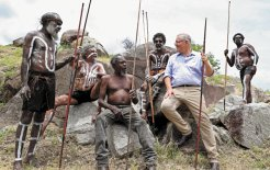 Image of Scott Morrison with Guugu Yimidhirr people at Reconciliation Rocks, Cooktown, 2019