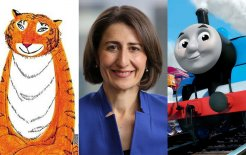 Image showing from left: The Tiger Who Came To Tea, Gladys Berejiklian and Thomas the Tank Engine