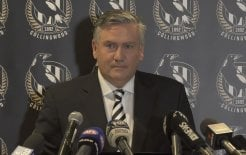 Image of Eddie McGuire resigning as president of the Collingwood Football Club.