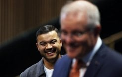 And now for something completely indifferent. Image of Guy Sebastian and Prime Minister Scott Morrison, June, 2020
