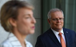 Image of Attorney-General Michaelia Cash and Prime Minister Scott Morrison at a press conference today. Image © Mick Tsikas / AAP Image