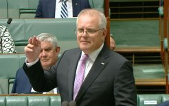 Image of Prime Minister Scott Morrison speaking in Question Time today.