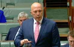 Image of Home Affairs Minister Peter Dutton speaking during Question Time today