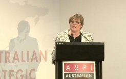 Image of Defence Minister Linda Reynolds speaking at the Australian Strategic Policy Institute
