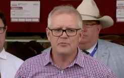 Image of Prime Minister Scott Morrison speaking earlier today. Image via ABC News