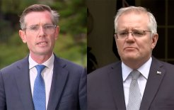 Composite image of NSW Premier Dominic Perrottet and Prime Minister Scott Morrison (images via ABC News)