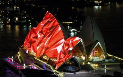 The Sydney Opera House lit up during the Vivid Sydney festival, May 2014