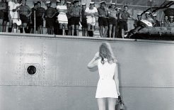 A woman greets her fiance aboard the HMAS Sydney, 1969. Photo by Cliff Bottomley. Image courtesy of the National Archives of Australia.