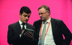 Sam Dastyari (L) and federal minister Anthony Albanese at the ALP National Conference in Sydney, 2011 © Dean Lewin / AAP