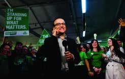 Adam Bandt at his election-night party, 7 September 2013. © Paul Jeffers / Fairfax