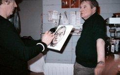 Brett Whiteley painting Francis Bacon's portrait, London, 1984. Photograph by John Edwards. Image courtesy of Art Gallery NSW.