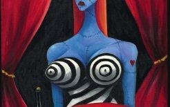 Tim Burton. 'Blue Girl with Wine' c. 1997. Oil on canvas, 71.1 x 55.9 cm. Private collection © Tim Burton