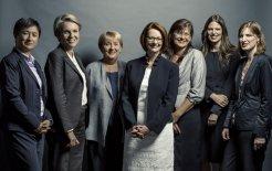 L–R: Penny Wong, Tanya Plibersek, Jenny Macklin, Julia Gillard, Kate Lundy, Kate Ellis, Julie Collins. © Tim Bauer