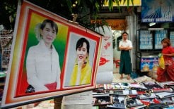 Posters of Burma's pro-democracy leader Aung San Suu Kyi on sale in Rangoon, December 2011 © Soe Zeya Tun/Reuters