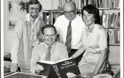 Arthur Delbridge (seated) with, from left, David Blair, John Bernard and Susan Butler, 1981. © National Library of Australia