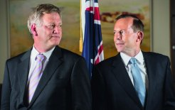 Andrew Bolt and Tony Abbott. © Jason Edwards / Newspix
