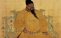 Yongle Emperor, of the Ming Dynasty, shown in the Dragon Chair. The original hanging scroll is held at the National Palace Museum, Taibei. © Wikimedia Commons