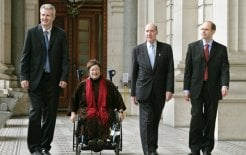 Community and disability activist Rhonda Galbally with members of the Human Rights Committee for Victoria at Parliament House, Melbourne, June 2005. © Eddie Jim/Fairfax Syndication