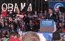 Barack Obama at campaign rally in Cleveland, Ohio. Image: TonyTheTiger at en.wikipedia