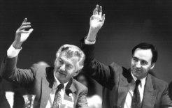 Greatness may be calling: Bob Hawke and Paul Keating in 1990. © Peter Morris/Fairfax Syndication