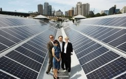 Shi Zhengrong and his wife, Vivienne, with Andrew Upton and Cate Blanchett, atop the Sydney Theatre Company, which is 70% powered by Suntech's Pluto technology, November 2010. © Brendon Thorne/Getty Images