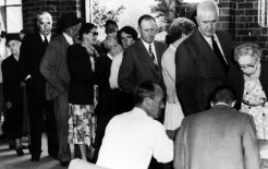 Robert Menzies, then prime minister, takes his place in the queue to vote at the 1958 federal election. © The Age/Fairfax Syndication
